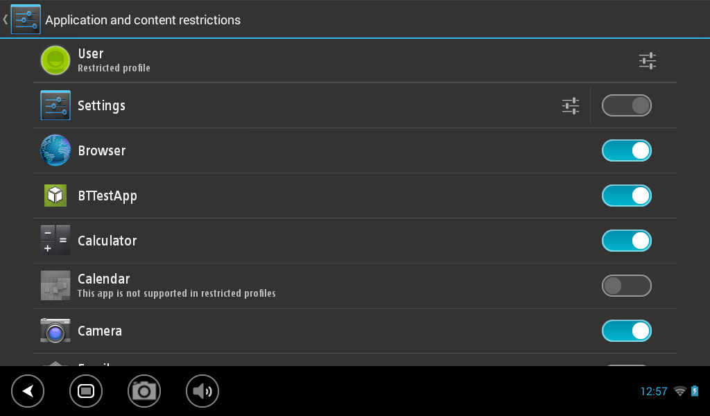 settings for user to use