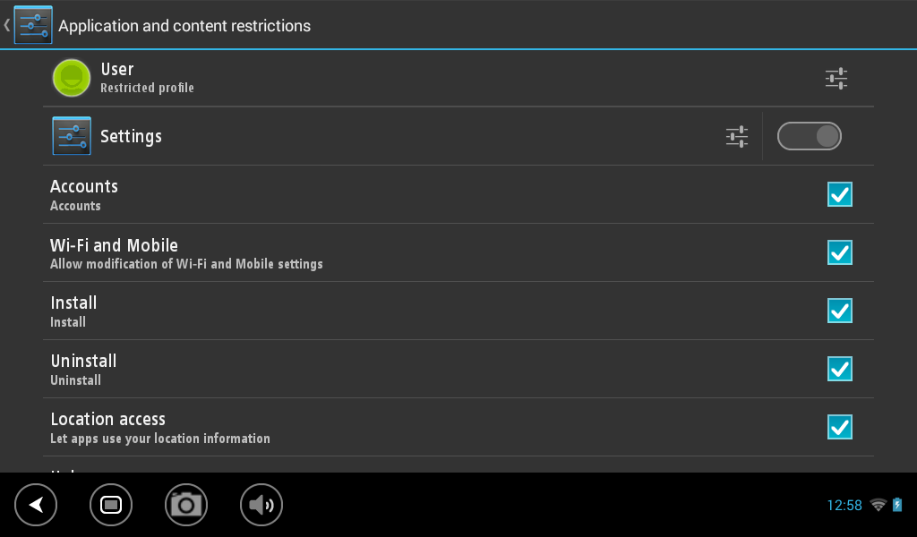 settings for user to change